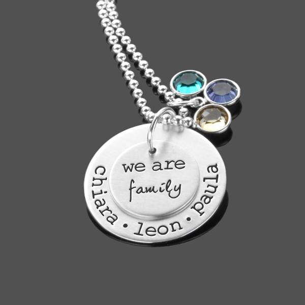 Namenskette Silber OUR FAMILY Familienkette mit Gravur für Mama