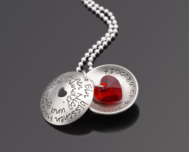 WUNDER RED 925 Silberschmuck mit Namen Datum Wunschtext Liebe