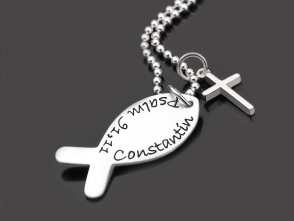 HALLELUJAH KREUZ 925 Silber Kette zur Konfirmation mit Namensgravur
