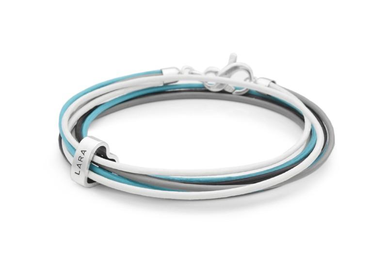 Wickelarmband 4-IN-1 HEART 925 Silber Lederarmband Gravur