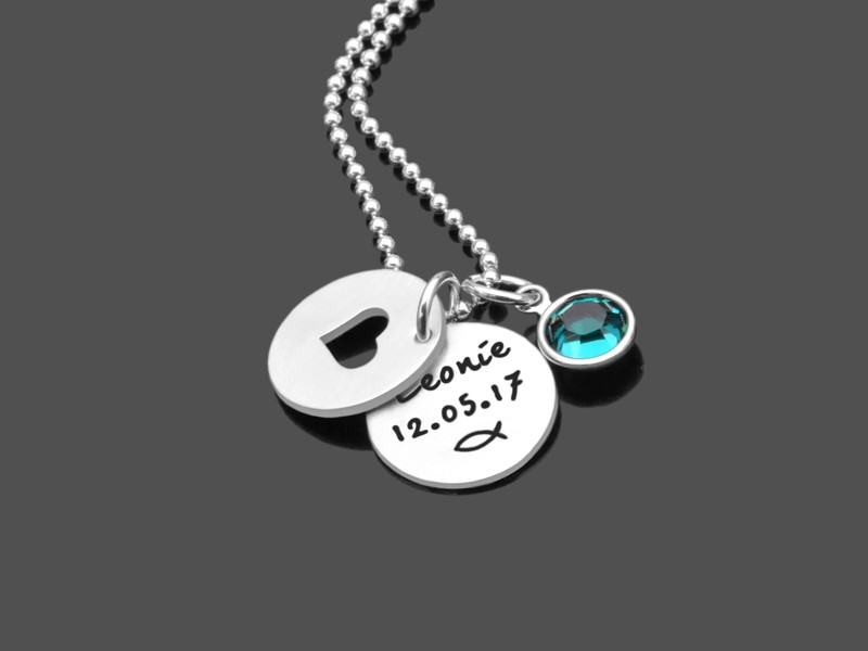 Taufkette MEINE TAUFE HERZ 925 Silber Taufgeschenk mit Namensgravur