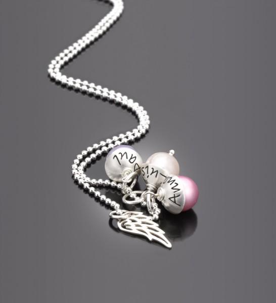 LYHO TRIPLE WING 925 Silberkette mit Namensgravur
