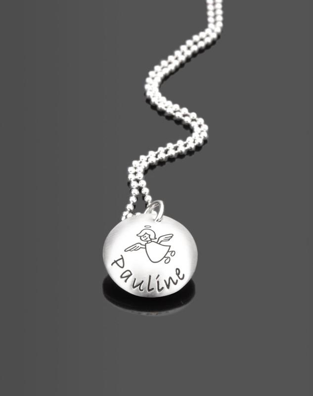 HIMMLISCH 925 Silber Kindermedaillon mit Namensgravur