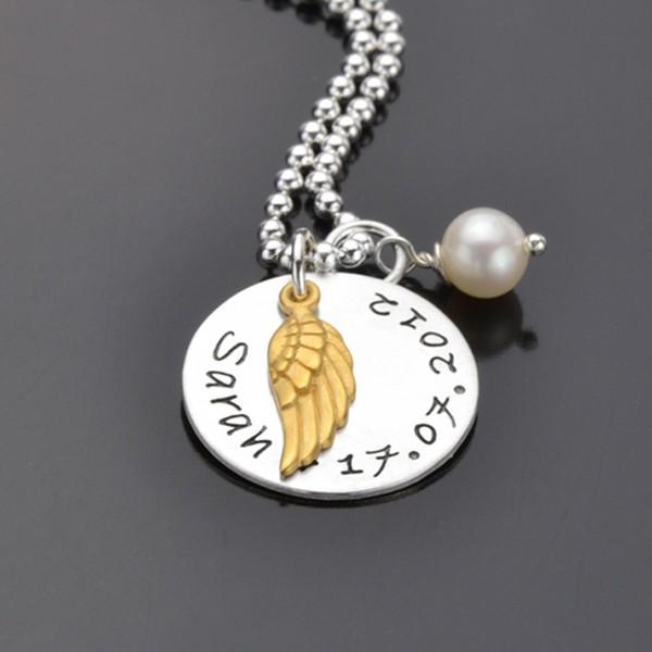 MY ANGEL GOLD 925 Silber Kette, Textschmuck mit Name, Praegung