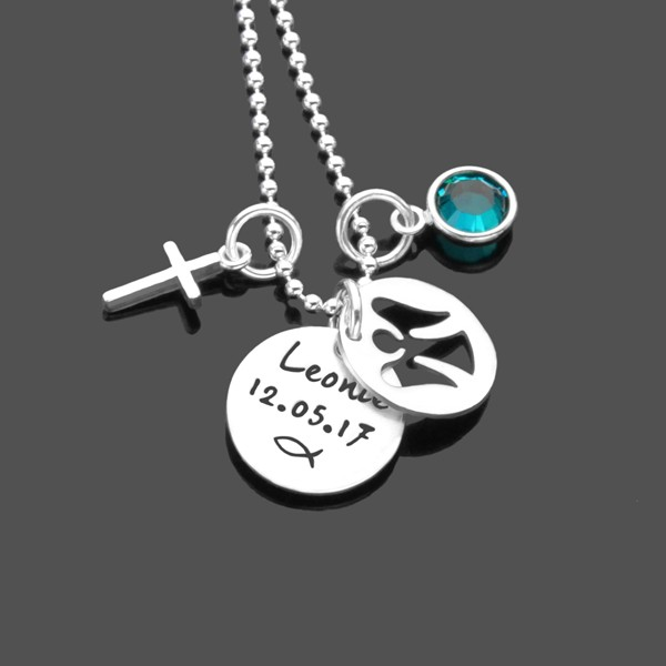 Taufkette mit Engel und Gravur