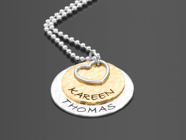 TOGETHER HEART 925 Silberkette Partnerschmuck mit Namensgravur