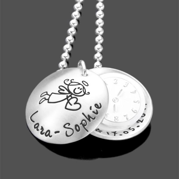 DATE OF BIRTH 925 Silber Taufkette mit Taufuhr, Gravur
