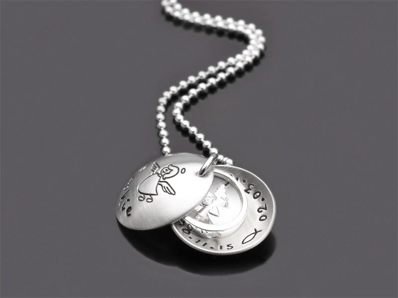 ENGELCHEN TAUFRING 925 Silber Taufkette mit Namesgravur