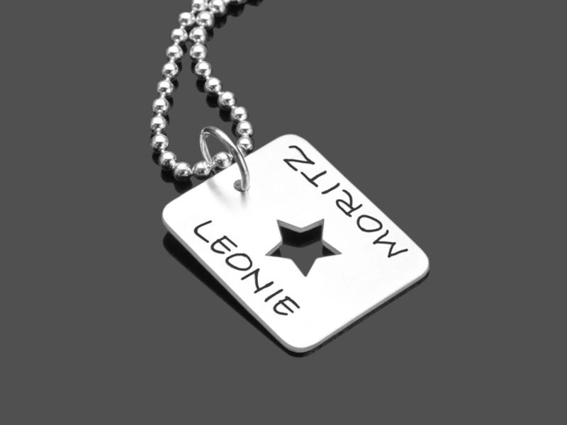 Männerkette personalisiert STAR TAG 925 Silberschmuck mit Gravur