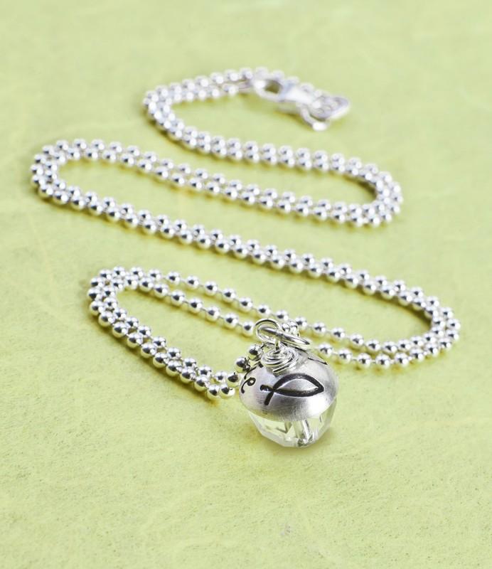 PRAY 925 Silber Edelstein Kette, Namenskette zur Konfirmation