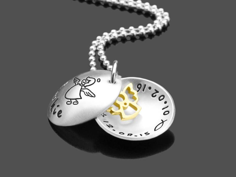 Taufkette TAUFENGEL GOLD 925 Silberkette mit Namensgravur