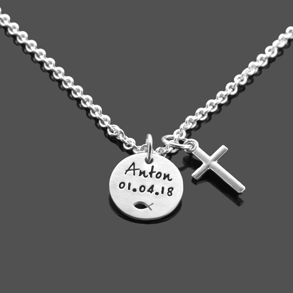 Taufkette Junge Taufgeschenk DEINE TAUFE KREUZ 925 Silber Kette Namenskette