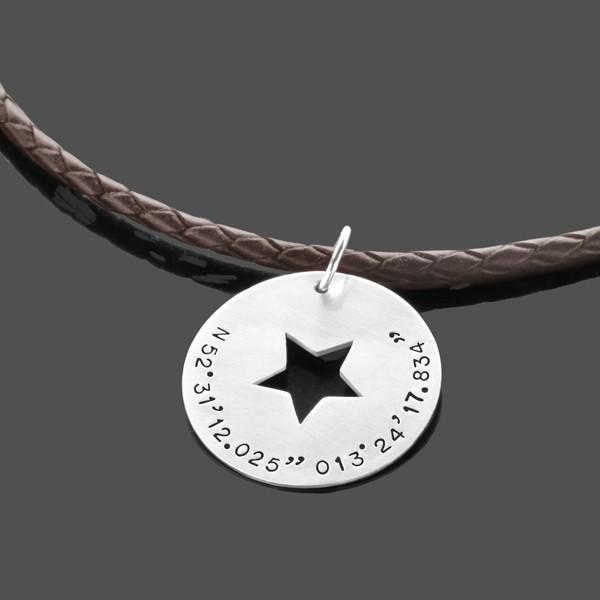 Herrenkette-Koordinaten-925-Lederkette-Maenner