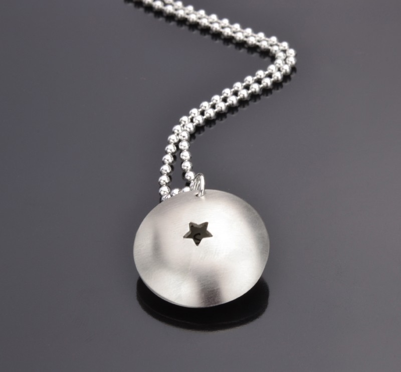 MESSAGE IN A SHELL - STAR 925 Silbermedaillon, Schmuck mit Wunschtext