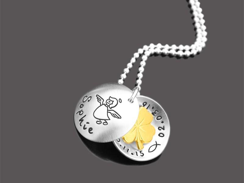 GLÜCKSKLEE 925 Silber Taufgeschenk mit Namensgravur Engelchen Taufkette