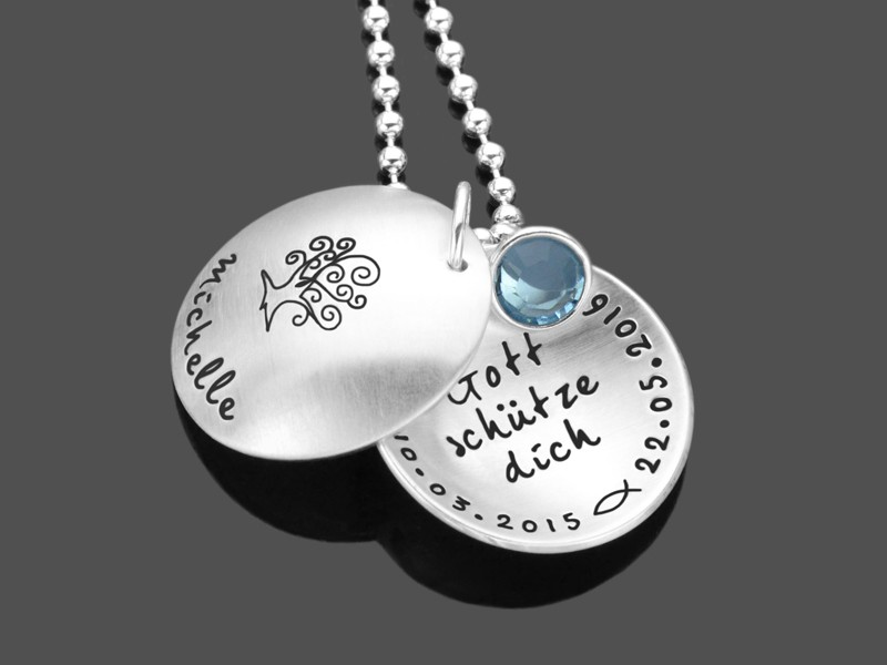 Taufkette ZUR TAUFE 925 Silberkette Geschenk zur Taufe Namensgravur