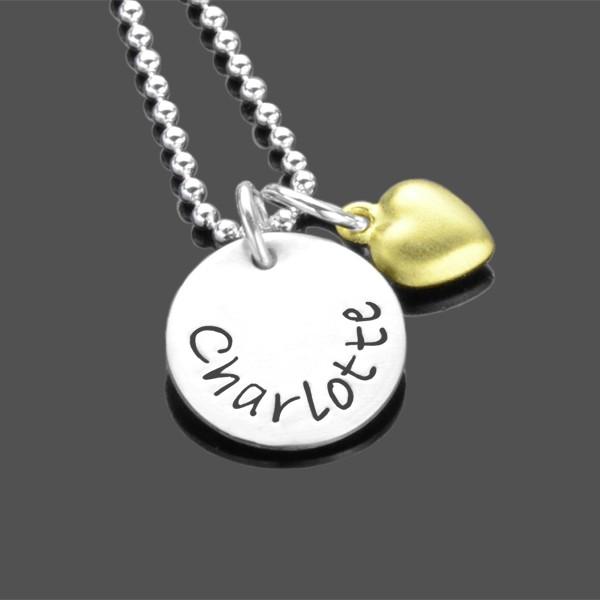 Namenskette GOLDHERZCHEN 925 Silber Kette Gravurschmuck Herz