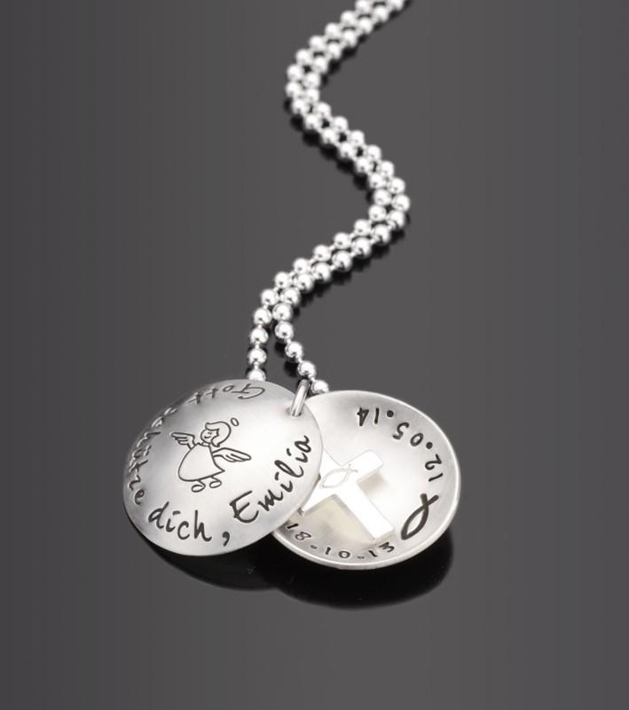 SEGNE MICH 925 Silbermedaillon zur Taufe mit Gravur