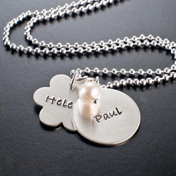 FAMILY & FRIENDS 925 Silber Kette, Silberschmuck mit Wunschtext