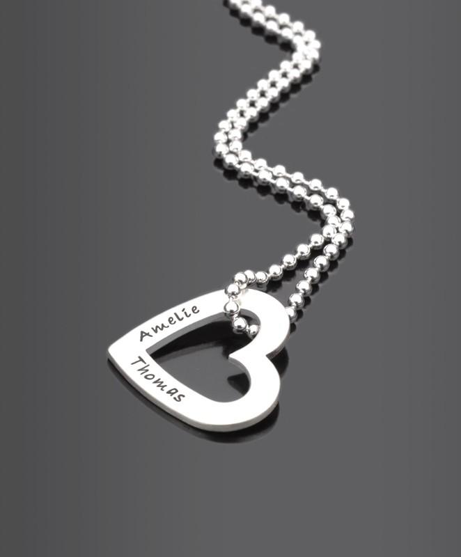 MON COEUR Herzkette mit Namensgravur aus 925 Silber