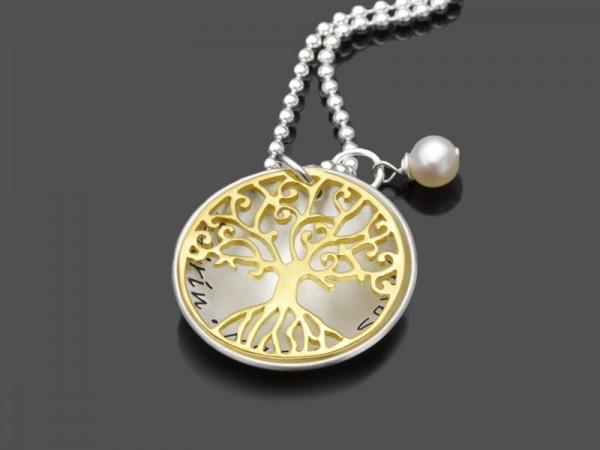Lebensbaum TREE OF LOVE GOLD 925 Silberkette Namensgravur