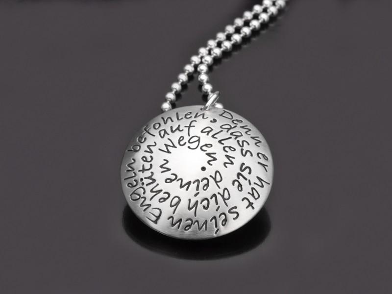 BLESSED 925 Silber Medaillon zur Taufe mit Gravur Taufschmuck