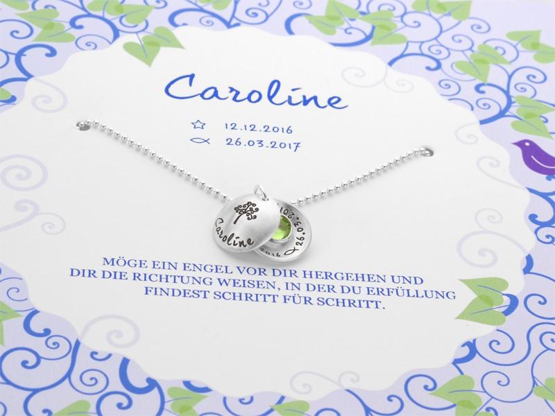 Taufkette mit Geschenkbox BÄUMCHEN 925 Silber Taufgeschenk Gravur
