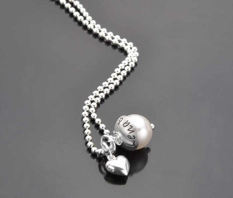 Kette mit Gravur LIEBESPERLE Namenskette Silber