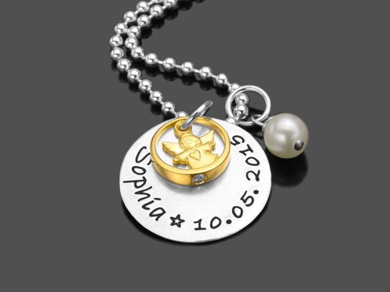 GESEGNET ENGEL GOLD 925 Taufkette Namenskette Taufring Engel Perle