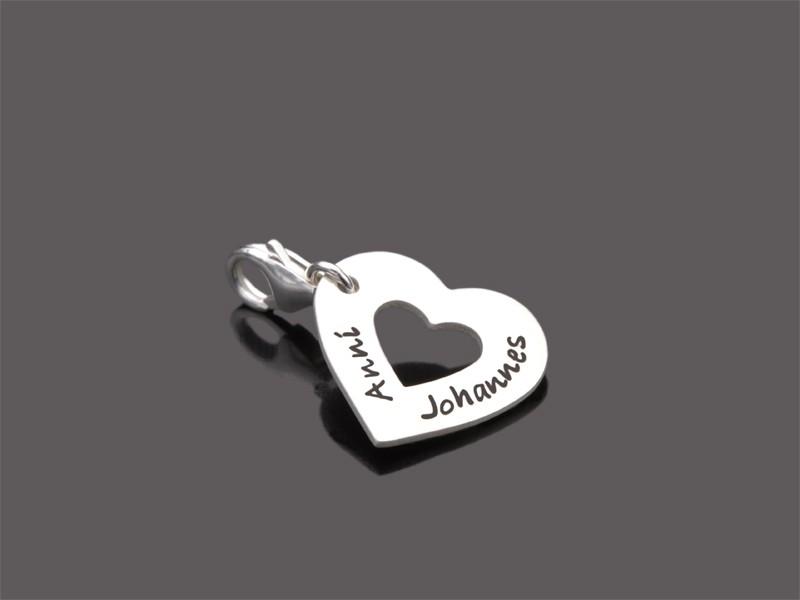 I HEART YOU MINI 925 Silberanhänger Charm Herz mit Namesgravur