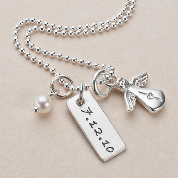 WITH ME 925 Silber Kinderkette mit Gravur und Schutzengel
