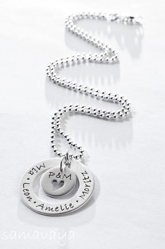 FAMILY CIRCLE 925 Silber Familienkette mit Kindernamen und Initialen