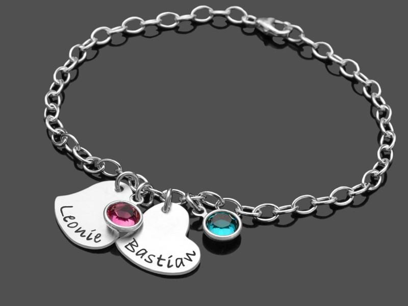 TWO HEARTS 925 Silber Armband mit Namen, Anhänger in Herzform