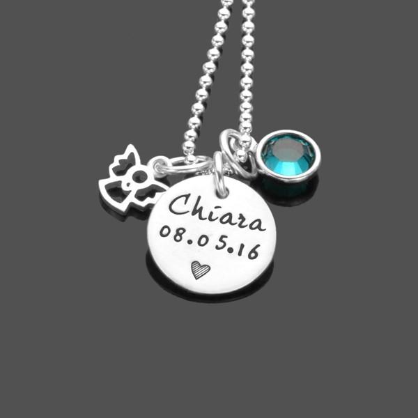 Taufekette mit Schutzengel und Gravur, personalisierbar