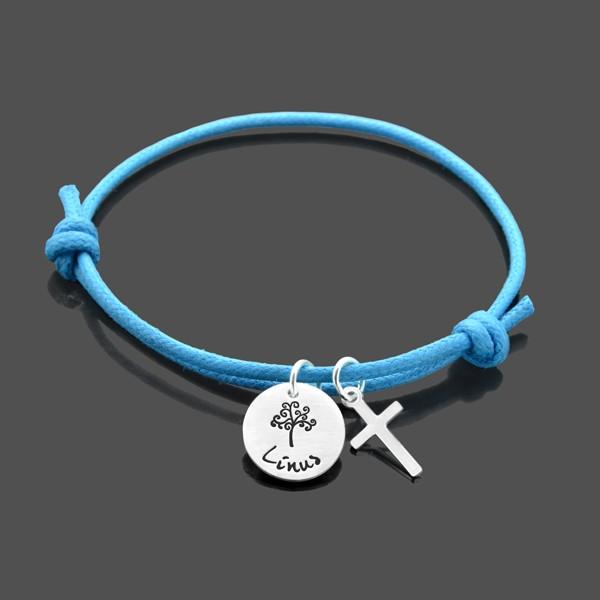 Taufarmband BÄUMCHEN KREUZ Armband 925 Silber Taufschmuck Gravur