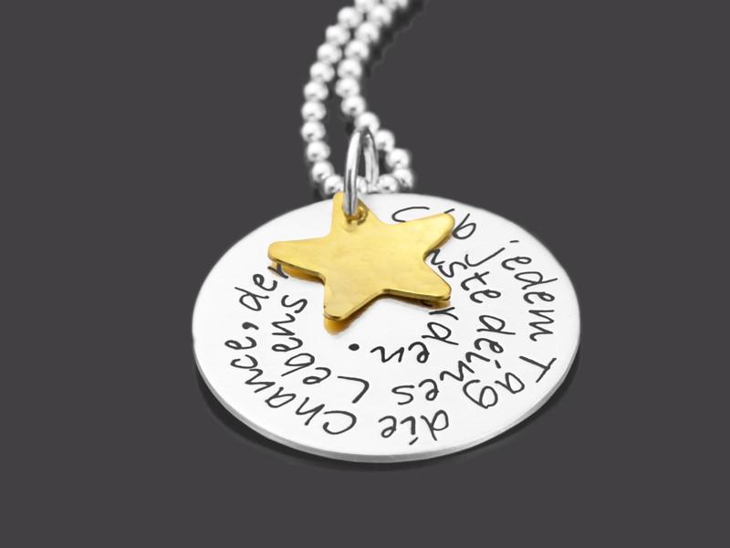 GIB JEDEM TAG DIE CHANCE 925 Silber Kette mit Wunschtext Gravur
