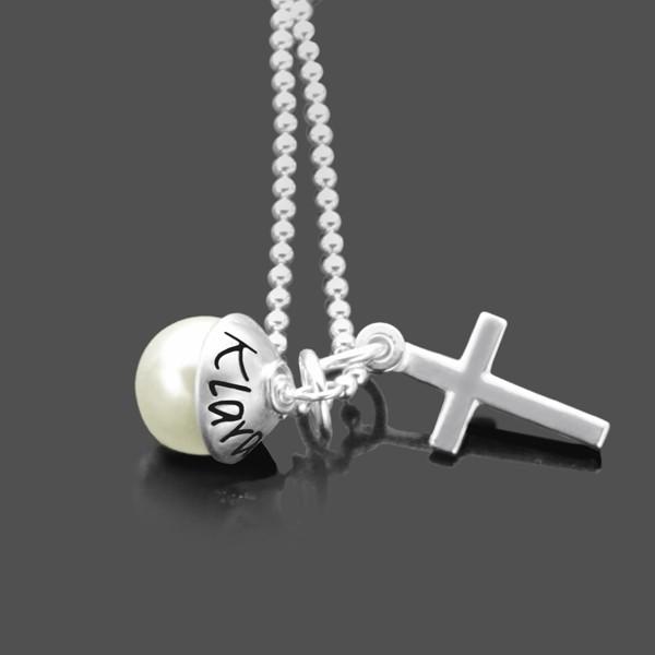 Taufkette-Gravur 925-Silber-Namenskette-Taufgeschenk