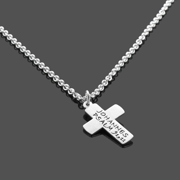 Konfirmation Kommunion Kette CROSS Silberkette mit Gravur Kreuz