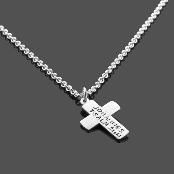 Konfirmation Kommunion Kette KREUZ 2.0 Silberkette mit Gravur