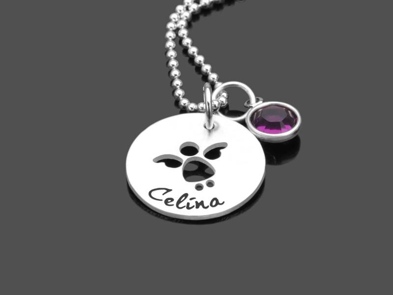 IM FLUG 925 Silber Taufkette mit Namensgravur Kinderschmuck zur Taufe