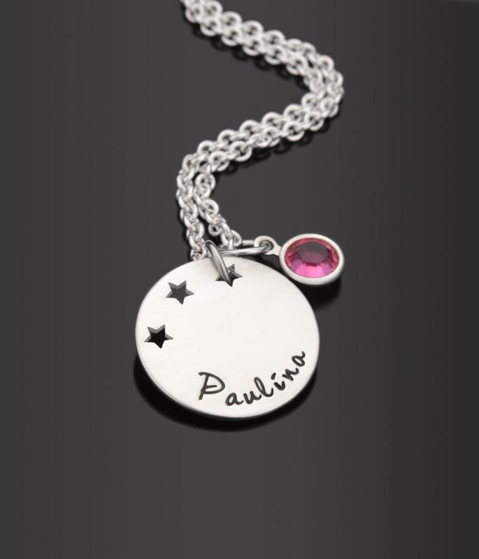 STERNENREGEN 925 Silber Taufkette mit Namensgravur, Kinderschmuck