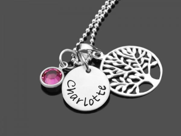WEIHE 925 Silberkette Taufschmuck mit Taufbaum Namensgravur Taufe