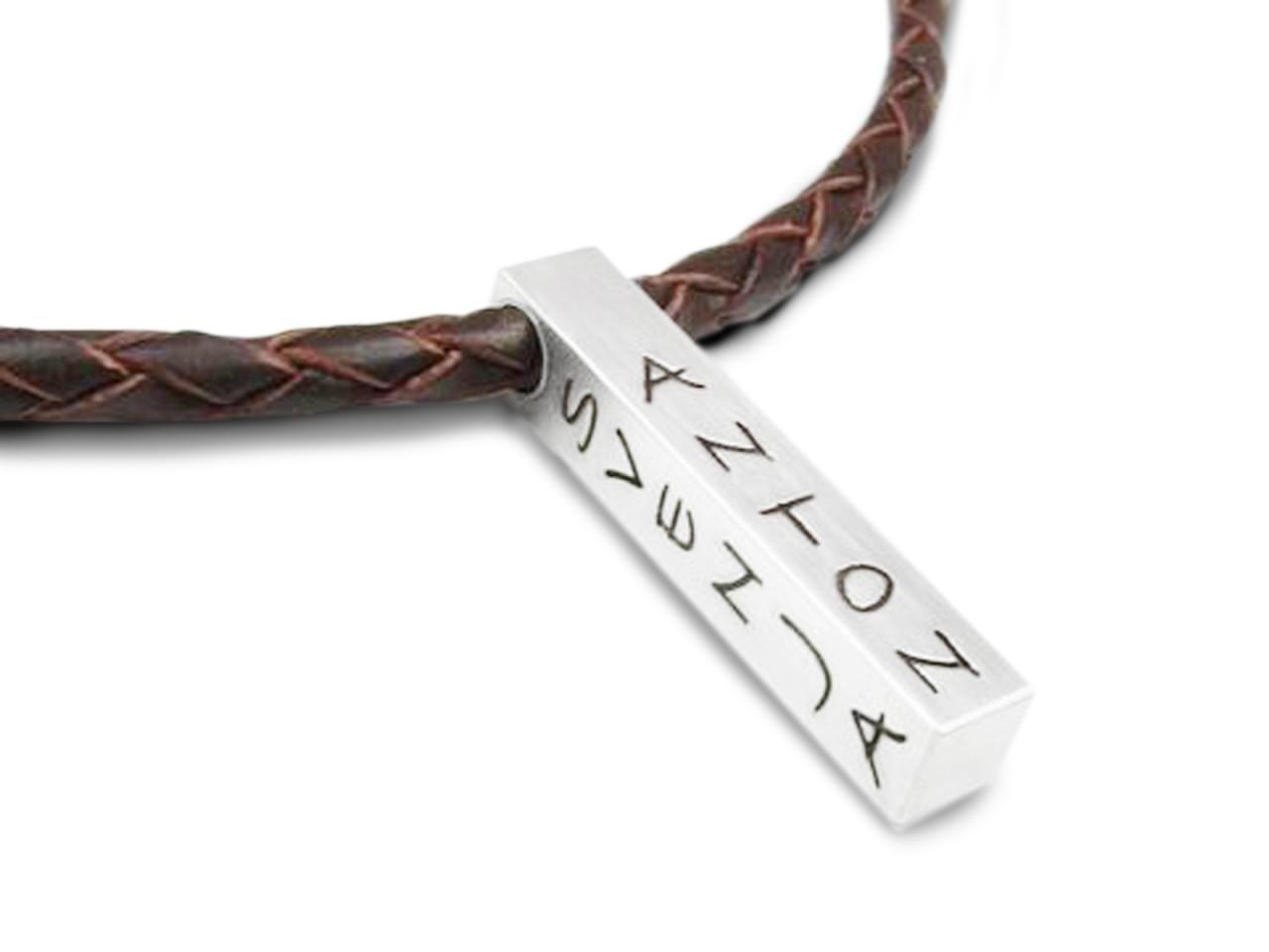 Männerkette aus Leder mit Gravur, personalisiert