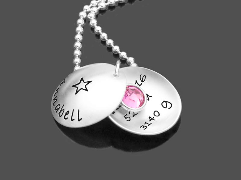 Geschenk zur Geburt A NEW STAR 925 Silberkette Mama personalisiert Babynamen