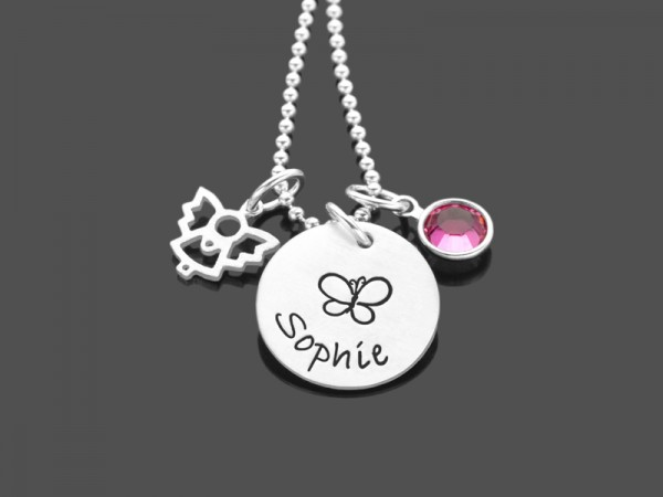 Kinderkette SPRING ANGEL 925 Silberkette mit Namensgravur