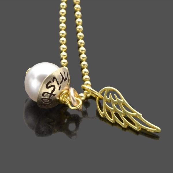 Kette mit 333 Goldanhänger LYHO WINGED GOLD Namenskette