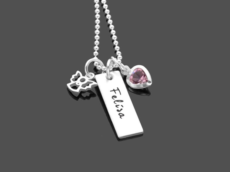 Geschenk zur Taufe MEIN TAUFENGEL 925 Silberkette mit Gravur Taufschmuck