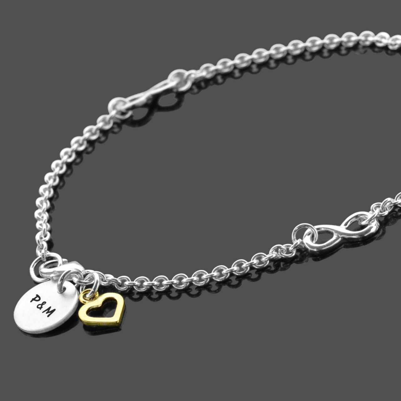 TOGETHERNESS HEART Armband mit Gravur, 925 Silber