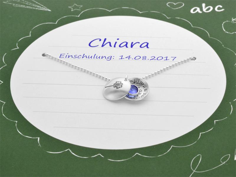 Namenskette Mit Geschenkbox Schulanfang 925 Silberkette Gravur