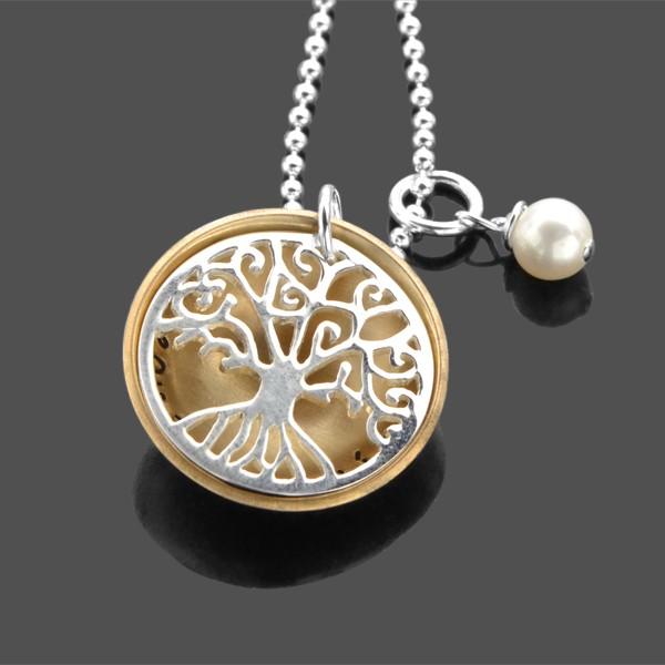 Namenskette Lebensbaum GOLDEN SMALL 925 Silber Gravur